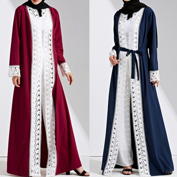 MD Islamic Clothing Muslim Abaya Kimono Cardigan Lace Patchwork Maxi Dress Turkish Dubai Open Abayas Malaysia Elegant Gowns 2020