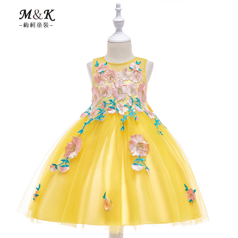 2019 New Style Dresses Of Bride Fellow Kids Girls Stereo Flower Wedding Dress Yellow Flower Fairy Flower Stickers Puffy Princess