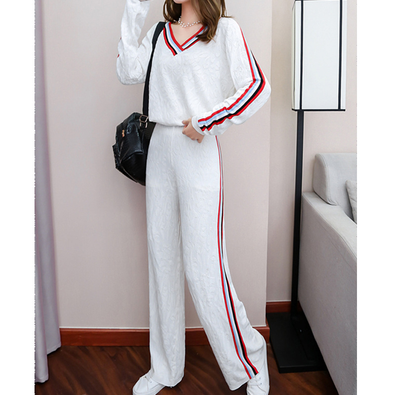 Casual Loose Pants WOMEN'S Suit Autumn 2019 Western Style Women's Fashion Viscose Knitted Sportswear Two-Piece Set