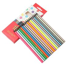 12Pcs Metallic Non-Toxic Colored Pencils+6pcs Fluorescent Color Pencils for Drawing Sketch Colores School Supplies Gifts