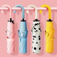 U-a forma di manico di Tasca Mini Ombrello Anti UV Paraguas Sole Ombrello Pioggia Antivento 3 Pieghevole Ombrelli Portatili per Le Donne bambini