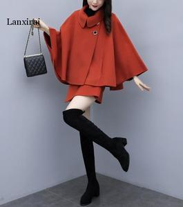 2 Piece Set Women Poncho Coat Turndown Collar Double  Breasted  Contrast Belt Woolen Cape Coat with pants lanxirui