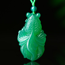 Fashion Jewelry Necklace Pendant Jade Natural Agate Hand-Carved Gold Chinese Women