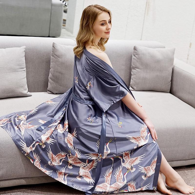 Women's Silk Satin Robe Bride Bridesmaid Dress Wedding Kimono Sleepwear Ice Silk Long Bathrobes Crane Pajamas Sexy Nightgown
