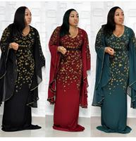 African Women's Clothes Dashiki Dress Sequins Embroidery Bazin Muslim Abaya Long Maxi Robe Gowns Sexy Rich Evening Party