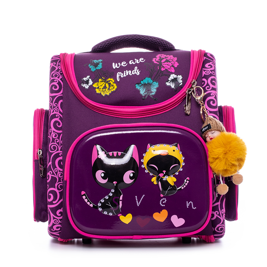 Backpack Unfold School-Bags Girls Cartoon Black Cat Design Children Infantil Pupil Orthopedic Rucksack Grade 1-5 Pendant Gift
