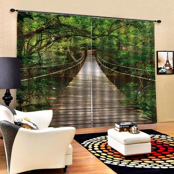 Decoration European 3D Curtains For Living room Blackout curtains green curtains wood birdge curtain