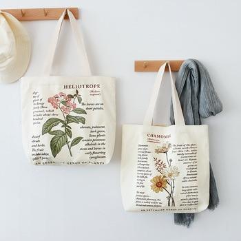 Retro Literary Canvas Bag Women's Shoulder Bag Fashion Cotton Letter Shopping Shopper Ladies Hand Bags Tote Bags for Women 2020