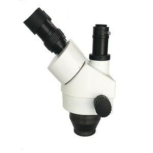 Image 2 - 러시아 무료 배송 7 45X 3.5X 90X Trinocular 스테레오 줌 0.5X 2.0X 보조 대물 렌즈가있는 대형 테이블 스탠드 현미경