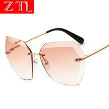 ZT Fashion Women Rimless Square Sunglasses Brand Designer Oversized Pink Gradient Diamond Cutting Lens Polarized Glasses