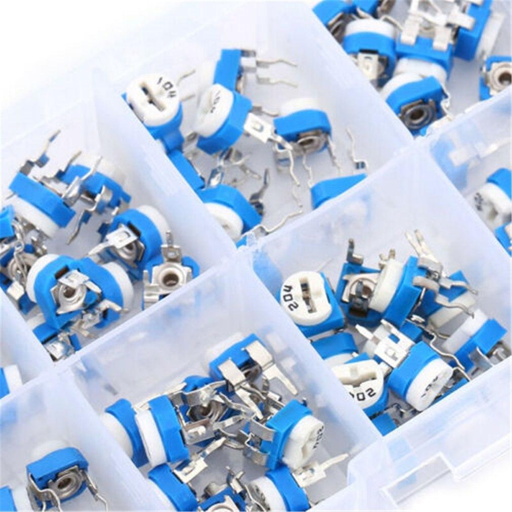 100шт RM065 подстроечный потенциометр ассортимент наборов 10 значений переменным резистором вертикальный регулируемый резистор набор