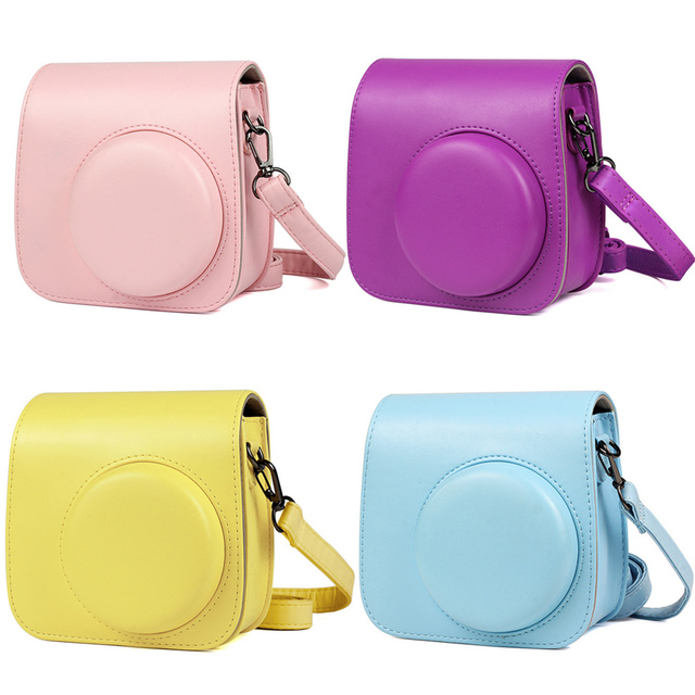 Besegad Pure Color PU Leather Storage Carrying Protective Pouch Bag Case with Shoulder Strap for Fujifilm Instax Mini 8 8+ 9
