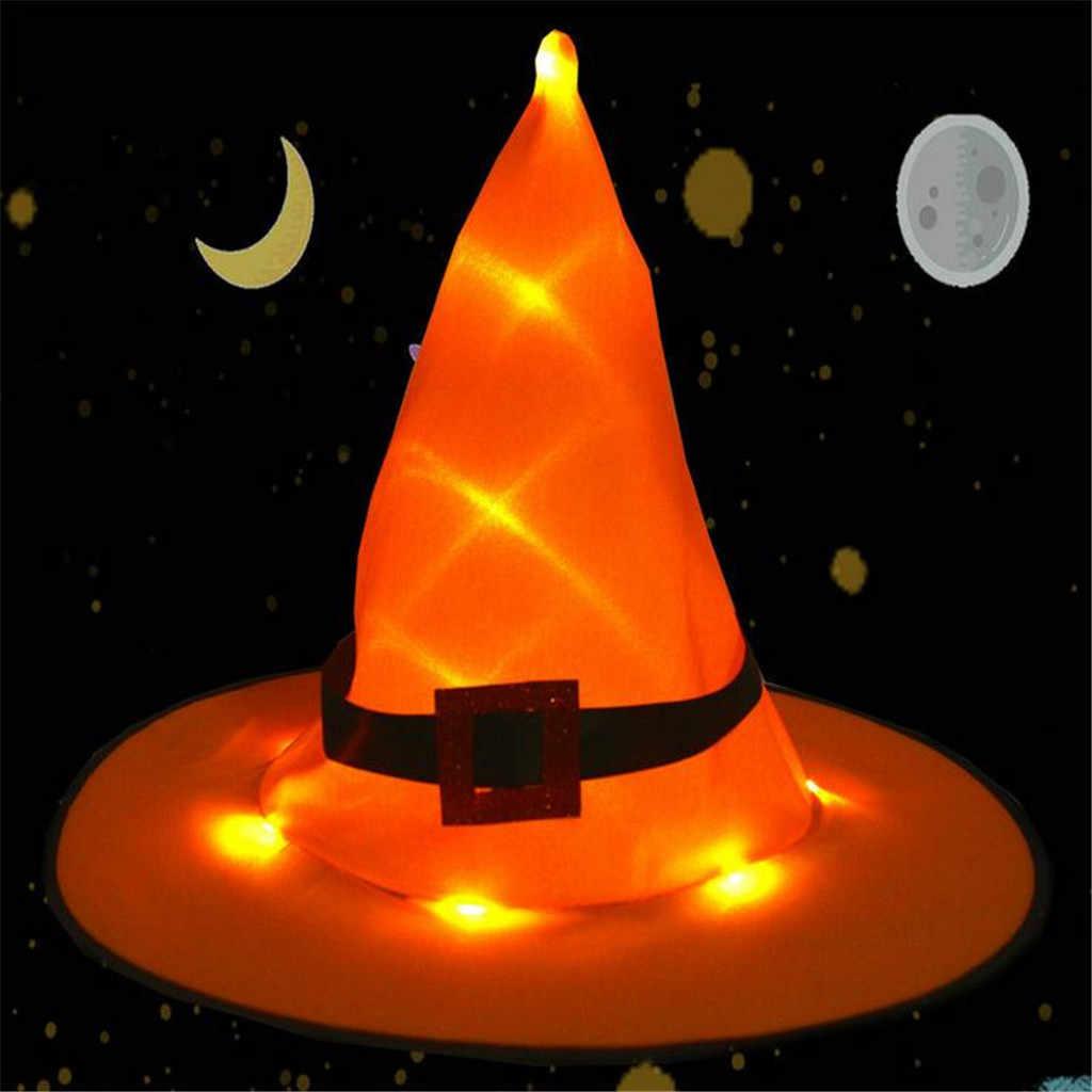 Sombrero de bruja de Halloween gorras LED luz parpadeante fiesta decoración mujer adulto sombrero de bruja para Halloween accesorios gorras aug29