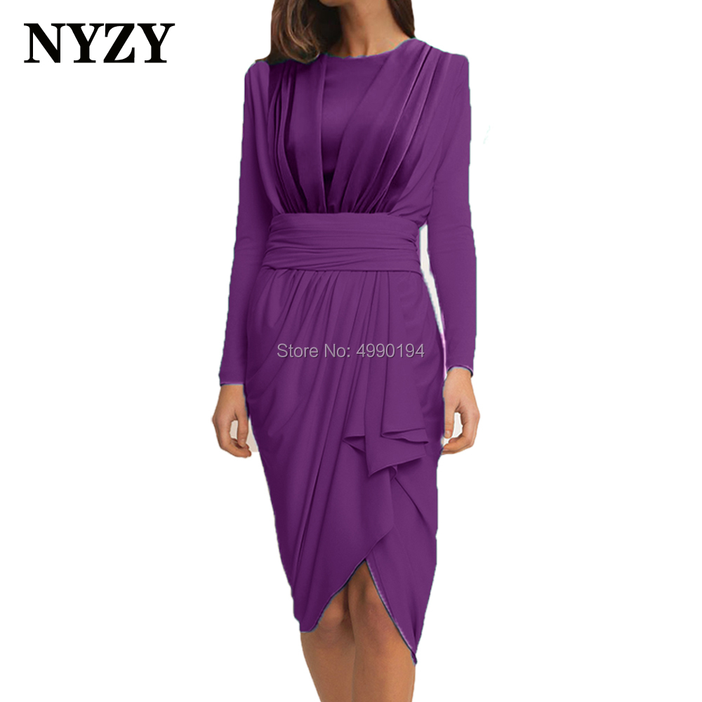 Purple Mother Of The Groom Dresses Stretch Jersey Short Mother Of The Bride Dresses 2020 NYZY M270 Formal Evening Gown
