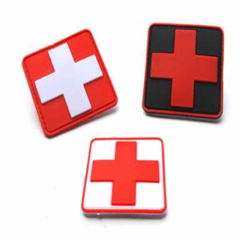 Outdoor Survival First Aid PVC Red Cross Hook Loop Fastener Badge Patch 5×5cmkEg