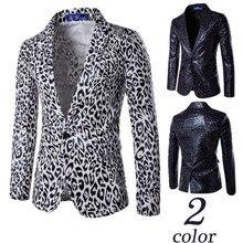 Black White Leopard Jacket for Men Fashion Europe Style Suit One-Buckle Slim Fit Male Blazer Formal Man