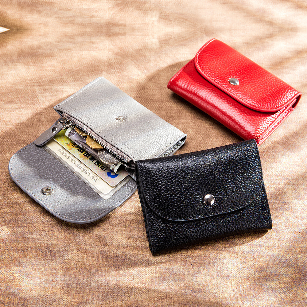 Genuine Leather Wallet Women Casual Simple Female Short Small Wallets Coin Purse Card Holder Men Money Bag With Zipper Pocket
