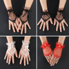 Trendy White Black Red Color Bride Party Gloves Fingerless Sexy Lace Short Bow Gloves for Women party 2