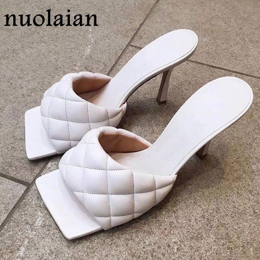 9CM Womens Summer High Heels Slipper Woman White Leather Square Peep Toe Sandals Ladies Sandal Shoe Pumps Chaussure