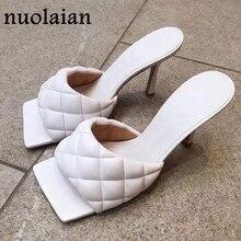 9CM Womens Summer High Heels Slipper Woman White Leather Square Peep Toe Sandals