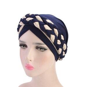 Image 2 - Helisopus 2020 แฟชั่นสไตล์ผู้หญิงมุสลิมผูกถักผมผ้าพันคอ Turban ผมหมวก Headwraps สำหรับสุภาพสตรีหมวกอุปกรณ์เสริมผม
