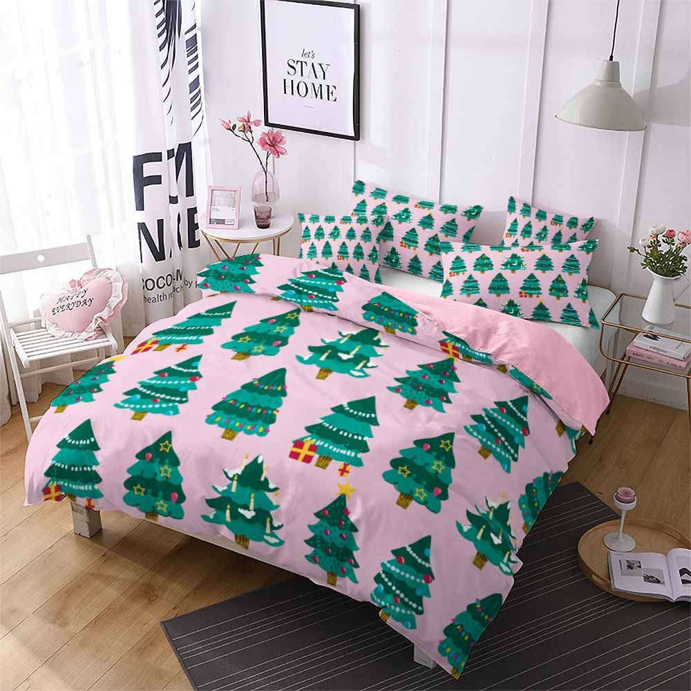 Merry Christmas Home Bedding Set Trees Comforter Microfiber Bed Linen 2/3pcs for Kids Festival Duvet Cover