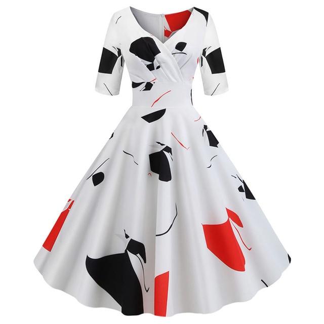Women flower print Autumn dress Casual Winter half sleeve Elegant Vintage dress Robe femme plus size pinup office party vestidos 6