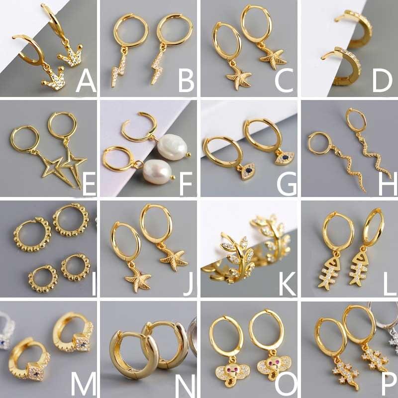 OUFEI 925 Sterling Silver Earrings For Women Various Styles Charm Drop Earrings Golden Selling Fashion Earrings 2020 New