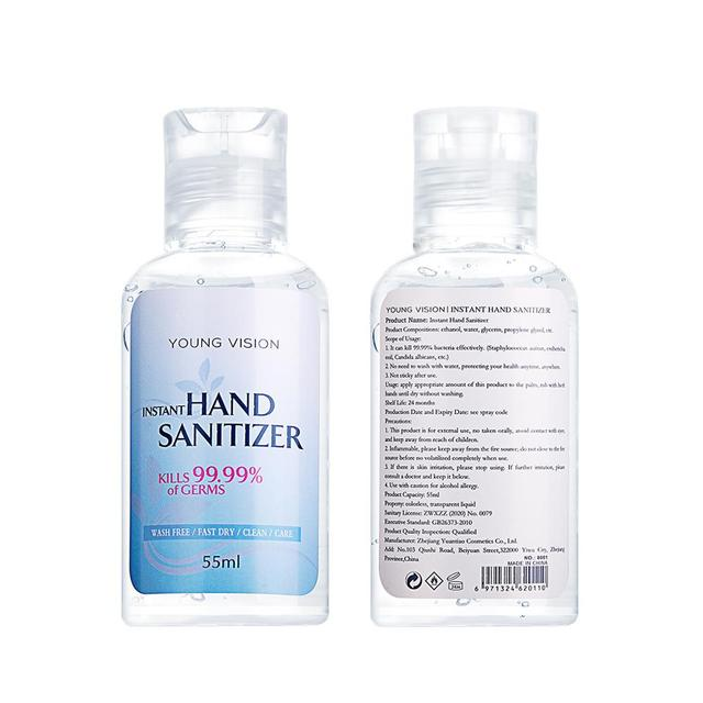 Travel Portable Hand Sanitizer 55ml Moisturizing Liquid Disposable No Clean Waterless Antibacterial Hand Gel 4