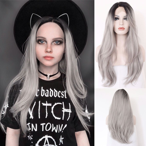 Image 1 - BeautyTown L Lace Part Handmade Black Ombre Grey Heat Resistant Hair Salon Party Women Daily Makeup Synthetic Lace Front Wigs