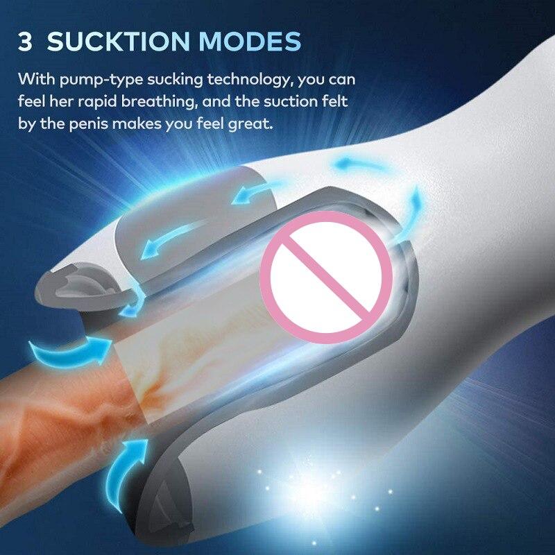 Leistungsfähige Männliche Masturbator Automatische Saugen Vakuum Masturbation Tasse Penis Eichel Vibrator Heizung Blowjob Oral Sex Spielzeug für Mann