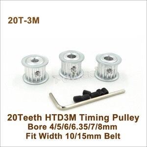 POWGE 20 Зубы 3 м зубчатый шкив Диаметр 4/5/6/6,35/7/8 мм подходят Вт = 10/15 мм 3 м ремень 20 т 20 Зубы HTD3M синхронный шкив 20- 3 м AF