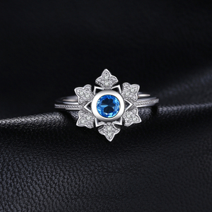 Image 2 - JewelryPalace Snowflake 0.6ct Genuine  Blue Topaz Cocktail Ring 925 Sterling Jewelry for Women Fashion Jewelry Elegant Gift