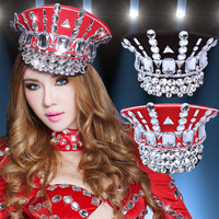 Bar Nightclub Women Singer Dancer Military Hats Formal Hat Headgear Accessories Red Black Rhinestones Cap Jazz Performance Caps
