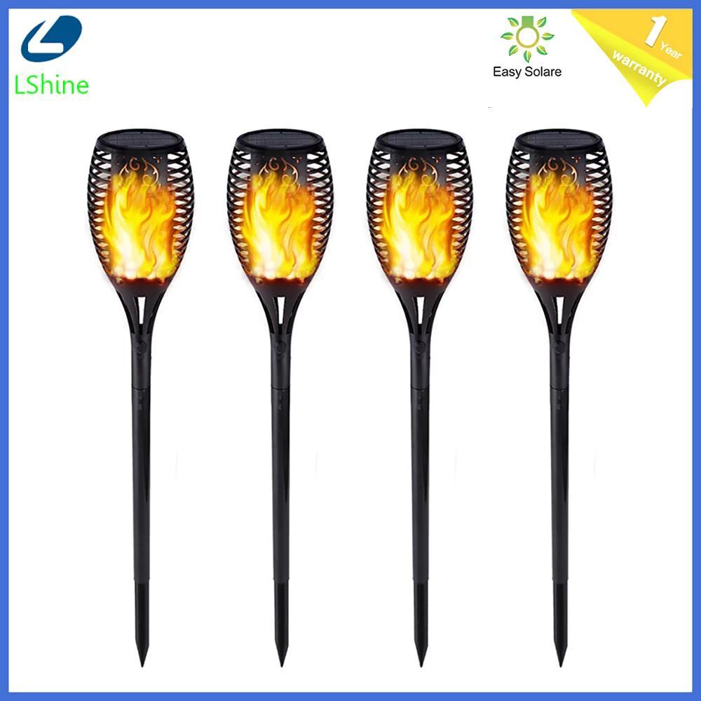 Chama solar com controle de luz, luz solar com 12/33/51/72/96leds, para dança e áreas externas, ip65 tocha de jardim lâmpada para pátio jardim varanda
