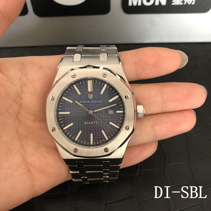 DIDUN Men Watch Top Brand Luxury Quartz Watch Rosegold Male Fashion Business Watch Shockproof 30m Waterproof Wristwatch