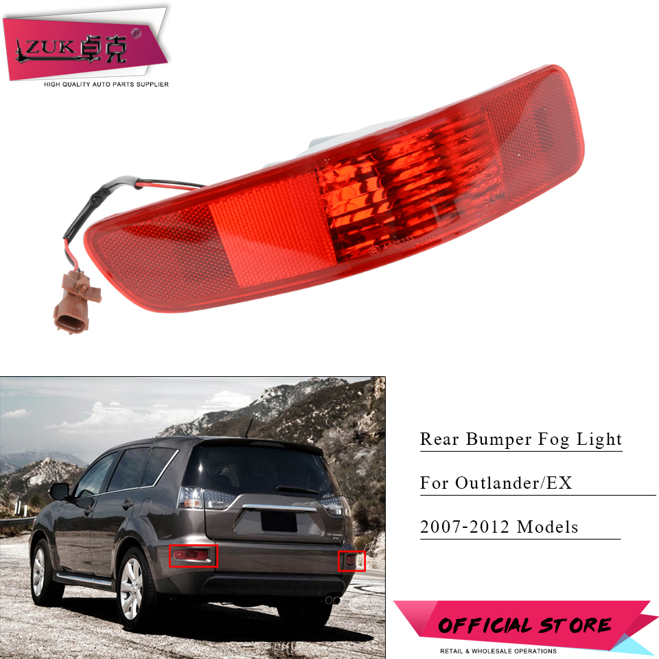 ZUK Rear Bumper Fog <font><b>Light</b></font> Lamp Reflector Tail <font><b>Light</b></font> Tail Lamp For <font><b>Mitsubishi</b></font> <font><b>Outlander</b></font> EX 2007-2012 <font><b>Outlander</b></font> Taillight Taillamp image