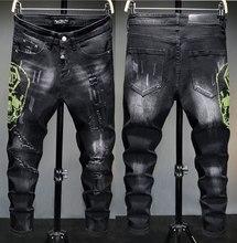 Jean en denim noir pour homme, coupe droite, Style européen, coupe ajustée, trous pour motard