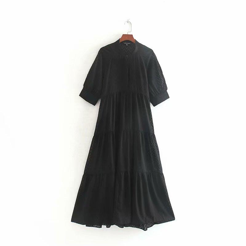 Women o neck short sleeve black long vestidos casual pleats straight Dress Ladies elegant ruffles chiffon brand Dresses DS2878