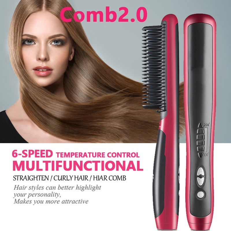 Anti-scald Ceramic Hair Straightener & Beard Comb Iron Teeth Salon and household Electric Hair Styling Brush For Hair and beard