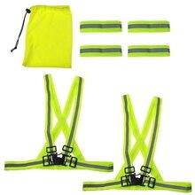 Kit High-Visibility Reflector Reflective-Vest-Bands Safety Running Night 6pcs Straps