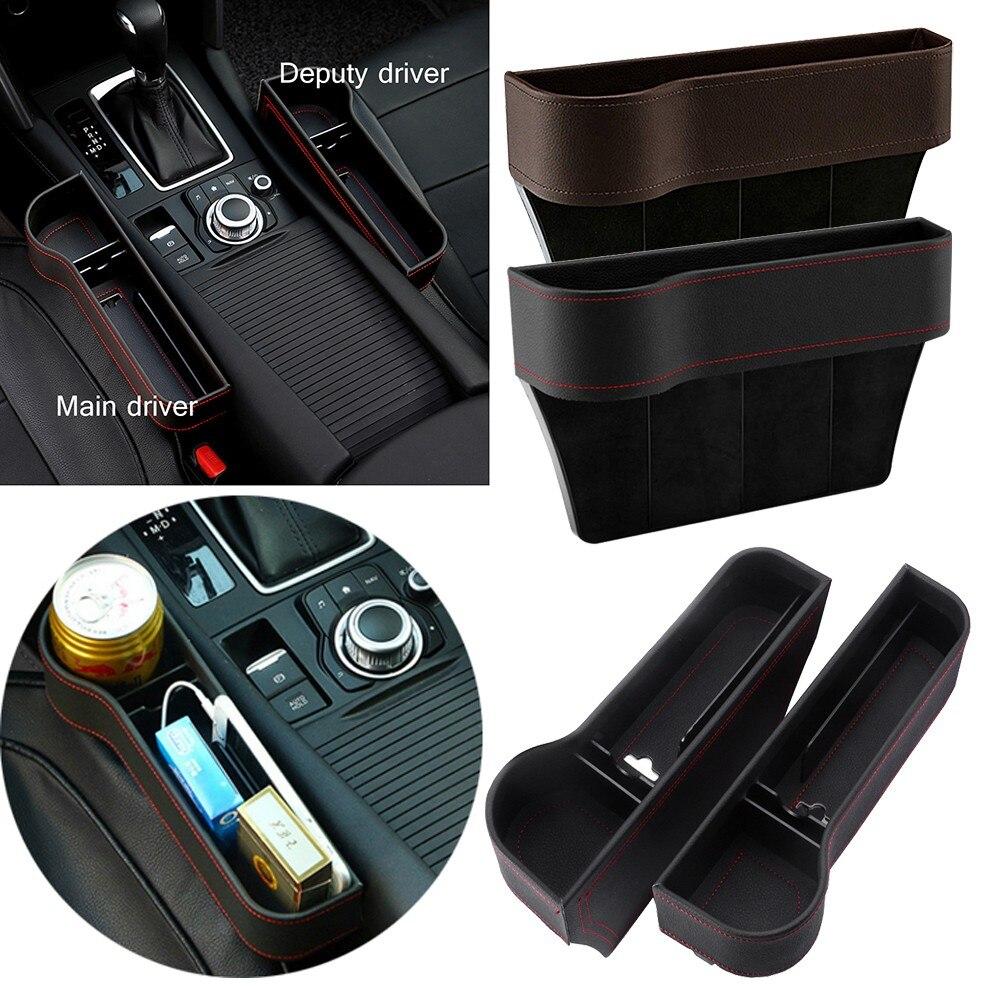 Leather Seat Gap Fillers Black Seat Car Organizer Slit Crevice Pocket Storage Organizer Catch Catcher Holder Box Gap Storage