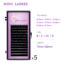 SONG LASHES  wholesale price eyelash extensions for salon and professional nature and Soft Thin Tip pure black easy pick up