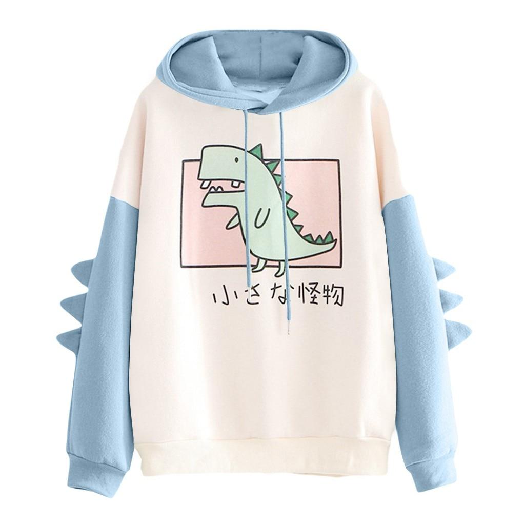 40#Hoodies Women Casual Cute Cartoon Dinosaur Print Long Sleeve Splice Dinosaur Sweatshirt Autumn Winter Warm Pullover Tops 8