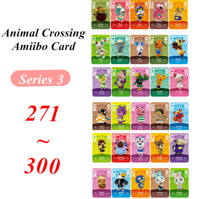 Animal Crossing Card Amiibo NFC Card Series 3 For Nintendo Switch NS Games  (271 To 300)