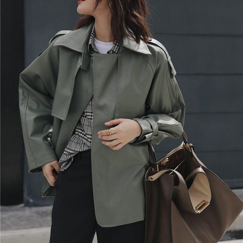 Hzirip Harajuku Matcha green Женская Ретро мотоциклетная куртка из искусственной кожи плюс винтажная куртка на шнуровке шикарная Универсальная женская верхняя одежда|Кожаные пиджаки| | - AliExpress