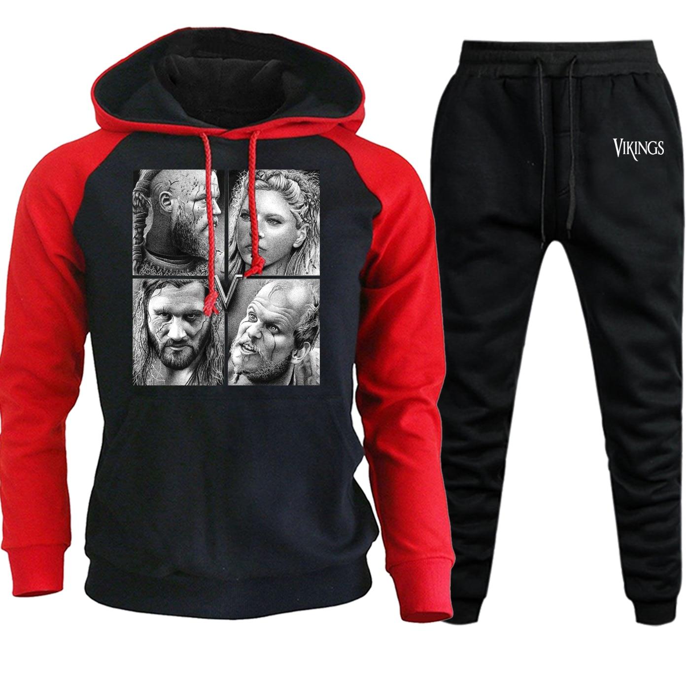 Streetwear Mens Hoodies Raglan Autumn Winter 2019 TV Show Vikings Suit Male Fleece Hooded Vintage Pullover+Pants 2 Piece Set