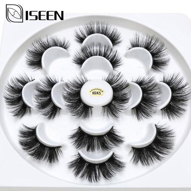 ISEEN 7 pairs natural false eyelashes fake lashes long makeup 3d mink lashes eyelash extension mink eyelashes for beauty