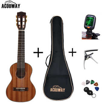 Acouway 28 inch Guitar Guitalele Guitarlele ukulele Sapele body 6 Strings 18 Frets Classical Knob with optional bag,tuner,capo - Category 🛒 Sports & Entertainment