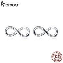 BAMOER gran oferta de plata esterlina 925 infinito amor infinito pendientes para las mujeres pendientes de moda de joyería de SCE562